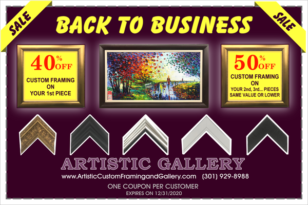 Artistic Custom & Framing Back to Biz Coupon